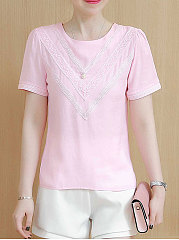 Spring Summer  Chiffon  Women  Round Neck  Beading  Hollow Out  Short Sleeve Blouses