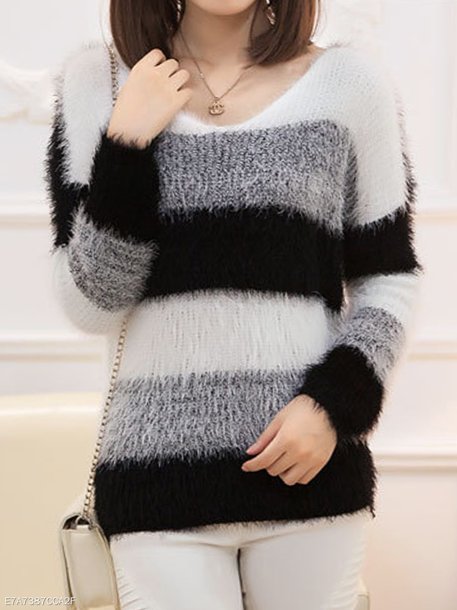 V-Neck  Color Block Striped  Long Sleeve Sweaters Pullover