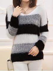 Fluffy-V-Neck-Color-Block-Striped-Sweater