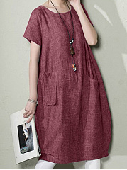 Round Neck Linen Plain Shift Dress