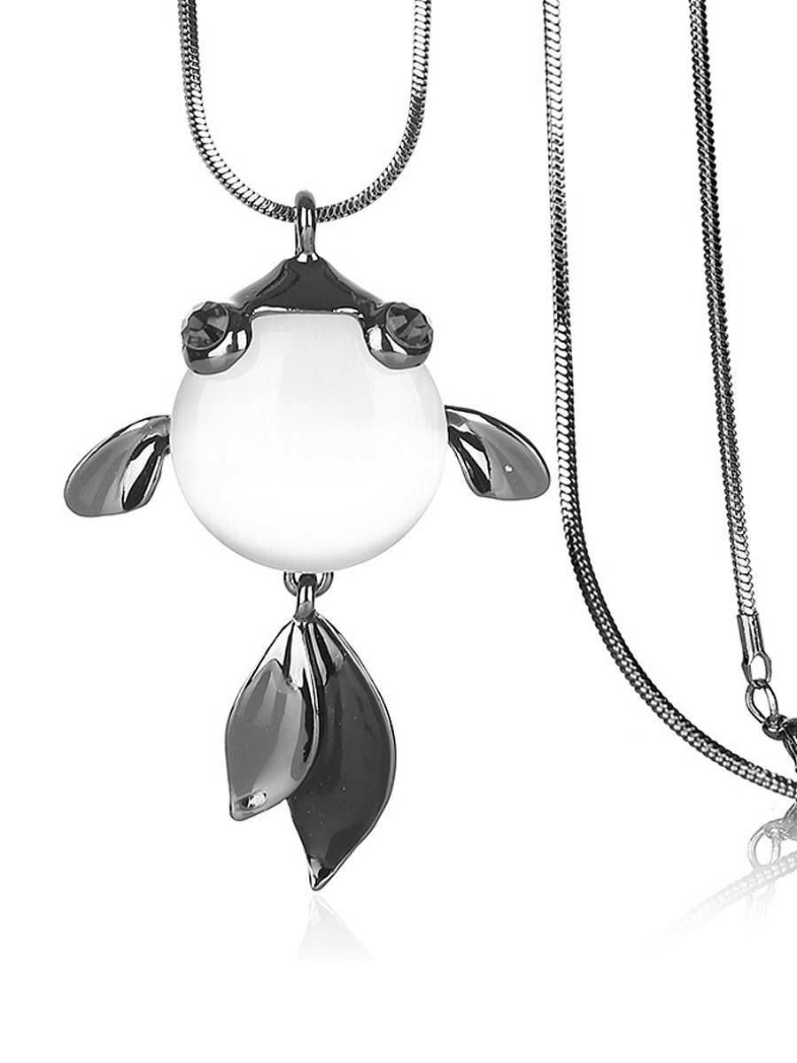 Opal Stone Goldfish Pendant Long Necklace