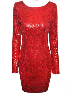 Round Neck Glitter Plain Bodycon Dress