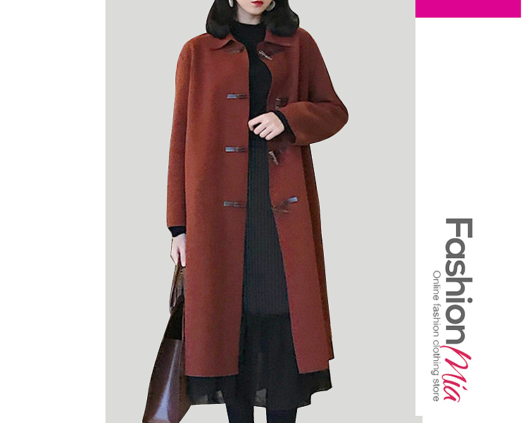 Fold-Over Collar Single Breasted Plain Long Sleeve Coats - $34.95 #planetgoldilocksfashions