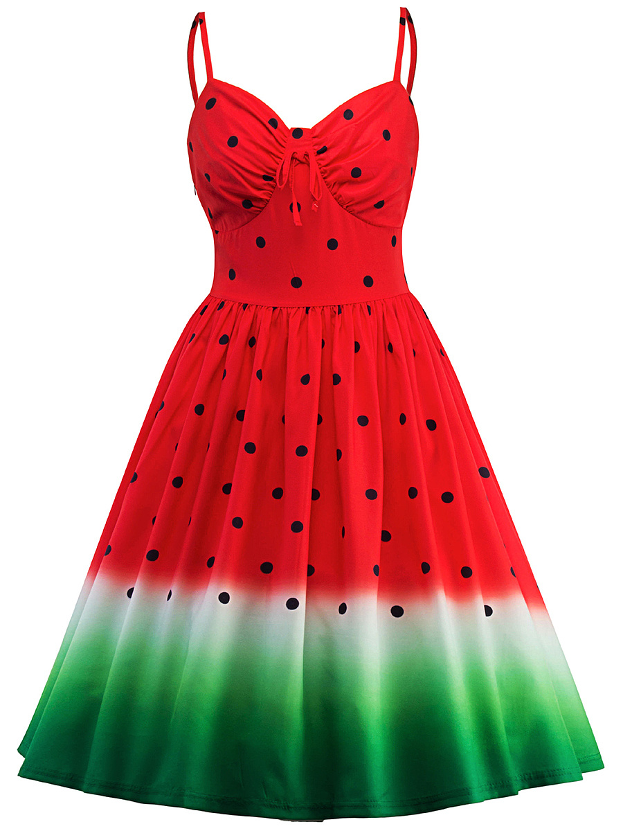 Spaghetti Strap Watermelon Pattern Printed Skater Dress