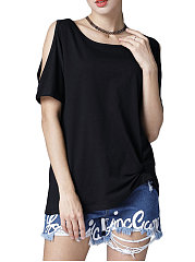 Summer-Cotton-Women-Asymmetric-Hem-Plain-Short-Sleeve-T-Shirts
