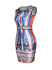 Unique Abstract Print Sleeveless Bodycon Dress