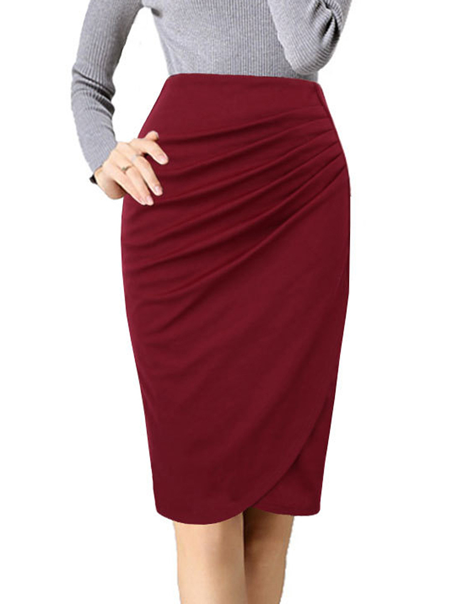 Plain  Pencil Midi Skirt