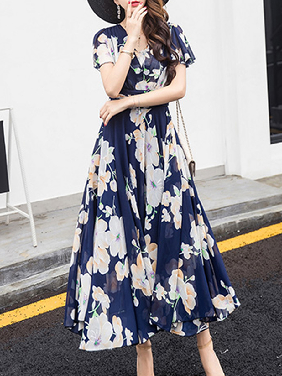 V-Neck Floral Hollow Out Chiffon Ruffle Sleeve Maxi Dress