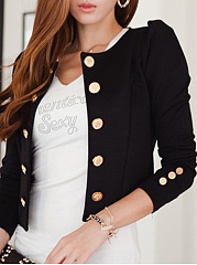 Collarless  Double Breasted  Plain  Long Sleeve Blazers