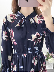 Tie Collar  Elastic Waist  Floral Printed Skater Dress