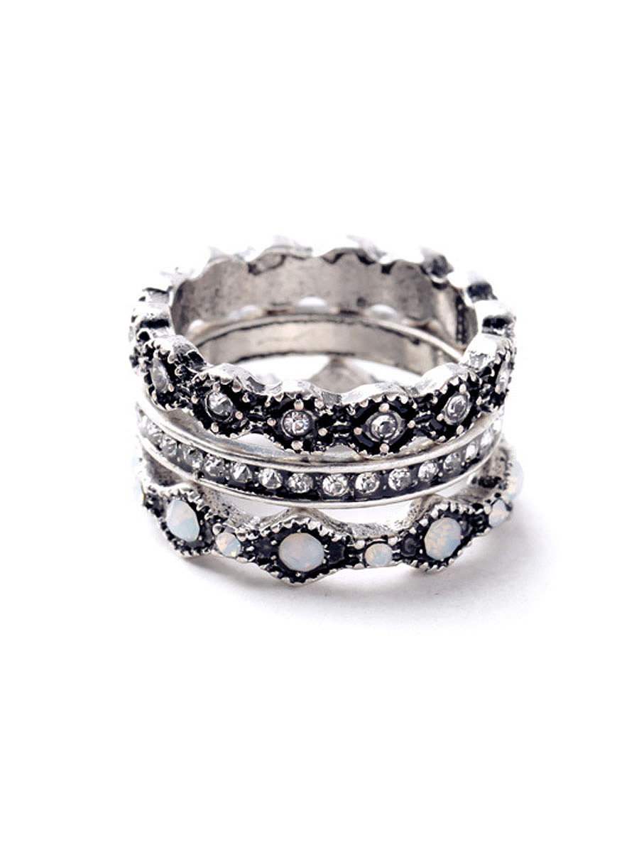 Antique Silver Three Rings Set