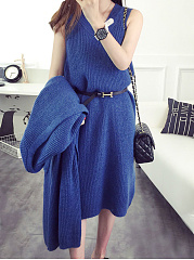 Round Neck  Plain Two-Piece Shift Dress