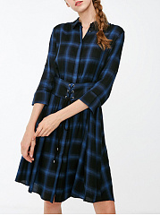 Fold-Over Collar  Belt  Plaid Skater Dress
