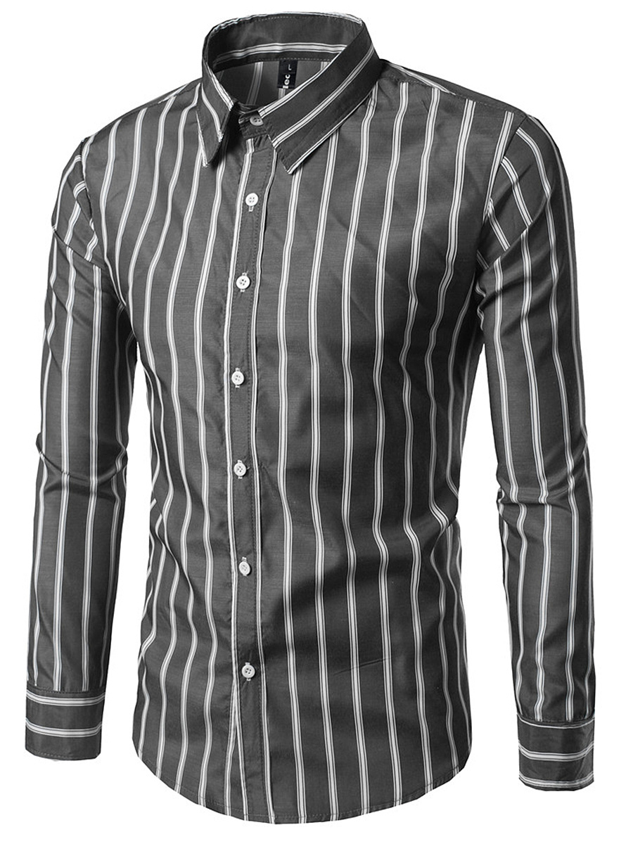 Vertical Striped Turn Down Collar Men Shirts