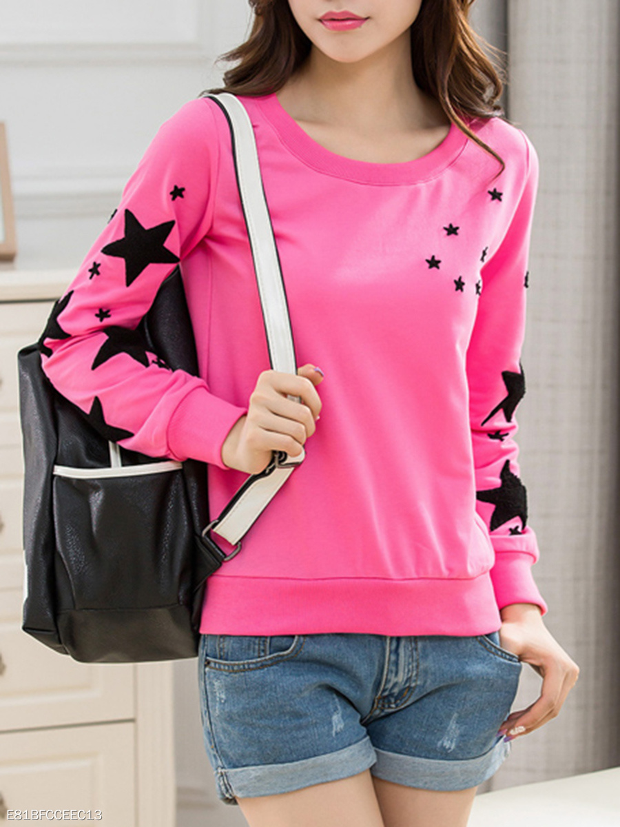 Round Neck  Embroidery Star  Long Sleeve Sweatshirts