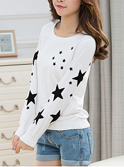 Round Neck Star Embroidery Sweatshirt