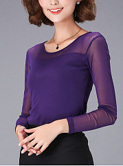 Autumn Spring  Polyester  Women  Round Neck  Patchwork  Plain Long Sleeve T-Shirts