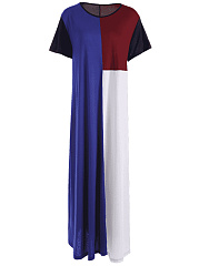 Round Neck  Color Block Maxi Dress