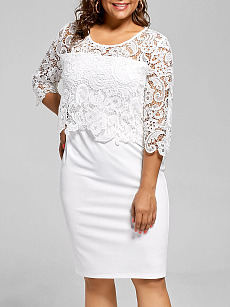 Round Neck  Decorative Lace  Lace Plain Plus Size Bodycon Dress