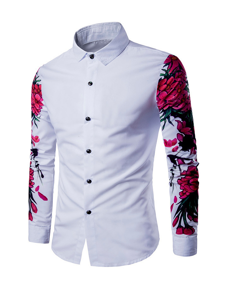 Skinny Floral Printed Turn Down Collar Men Shirt