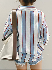 Turn Down Collar  Patch Pocket  Striped  Roll-Up Sleeve Blouses
