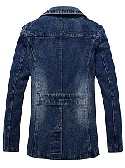 Men Lapel Pocket Light Wash Denim Coat