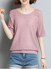 Round Neck  See-Through  Plain  Batwing Sleeve  Half Sleeve Sweaters Pullover