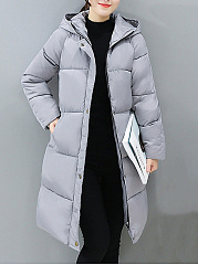 Hooded Pocket Quilted Plain Longline Padded Coat