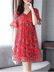 Bell Sleeve V-Neck Printed Skater Dress