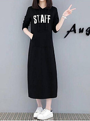 Hooded  Letters Casual Maxi Dress