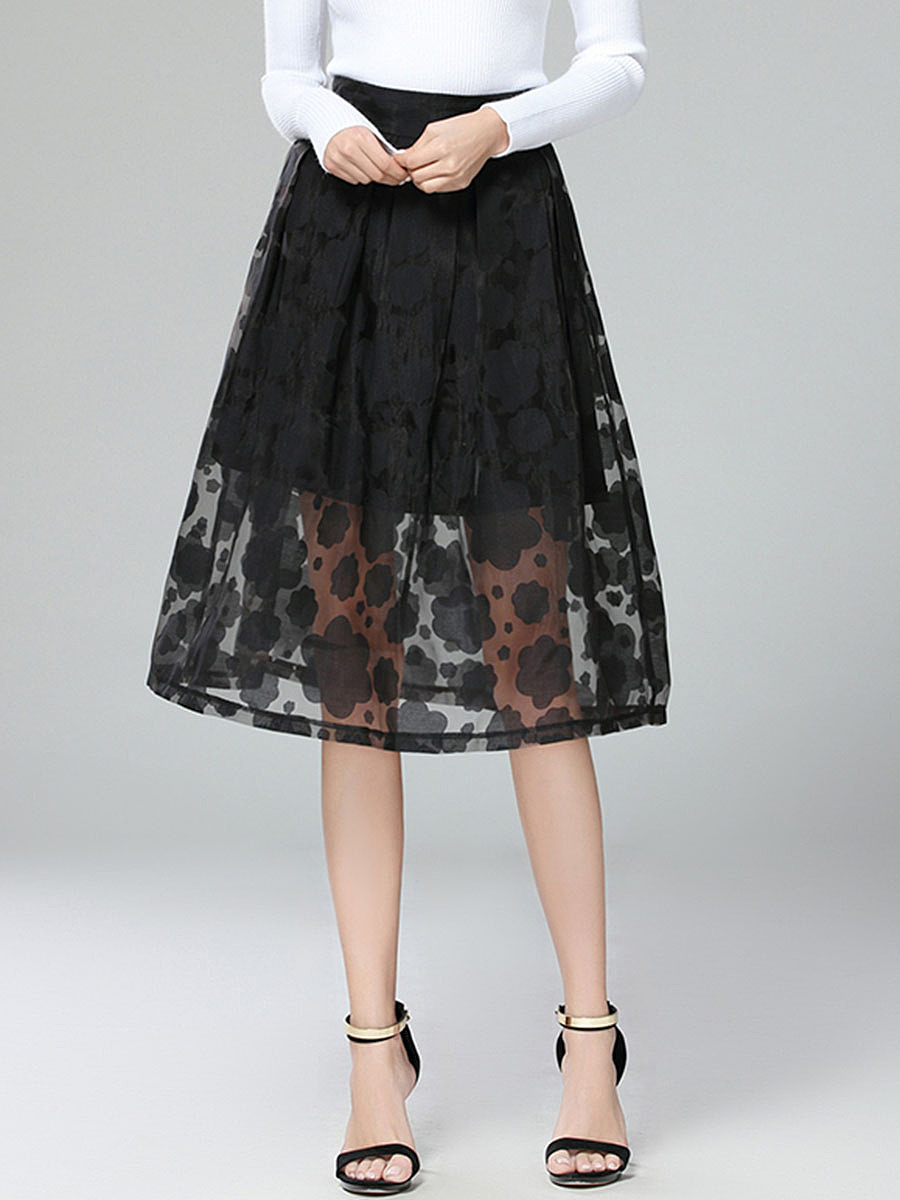Solid Floral Hollow Out Flared Midi Skirt