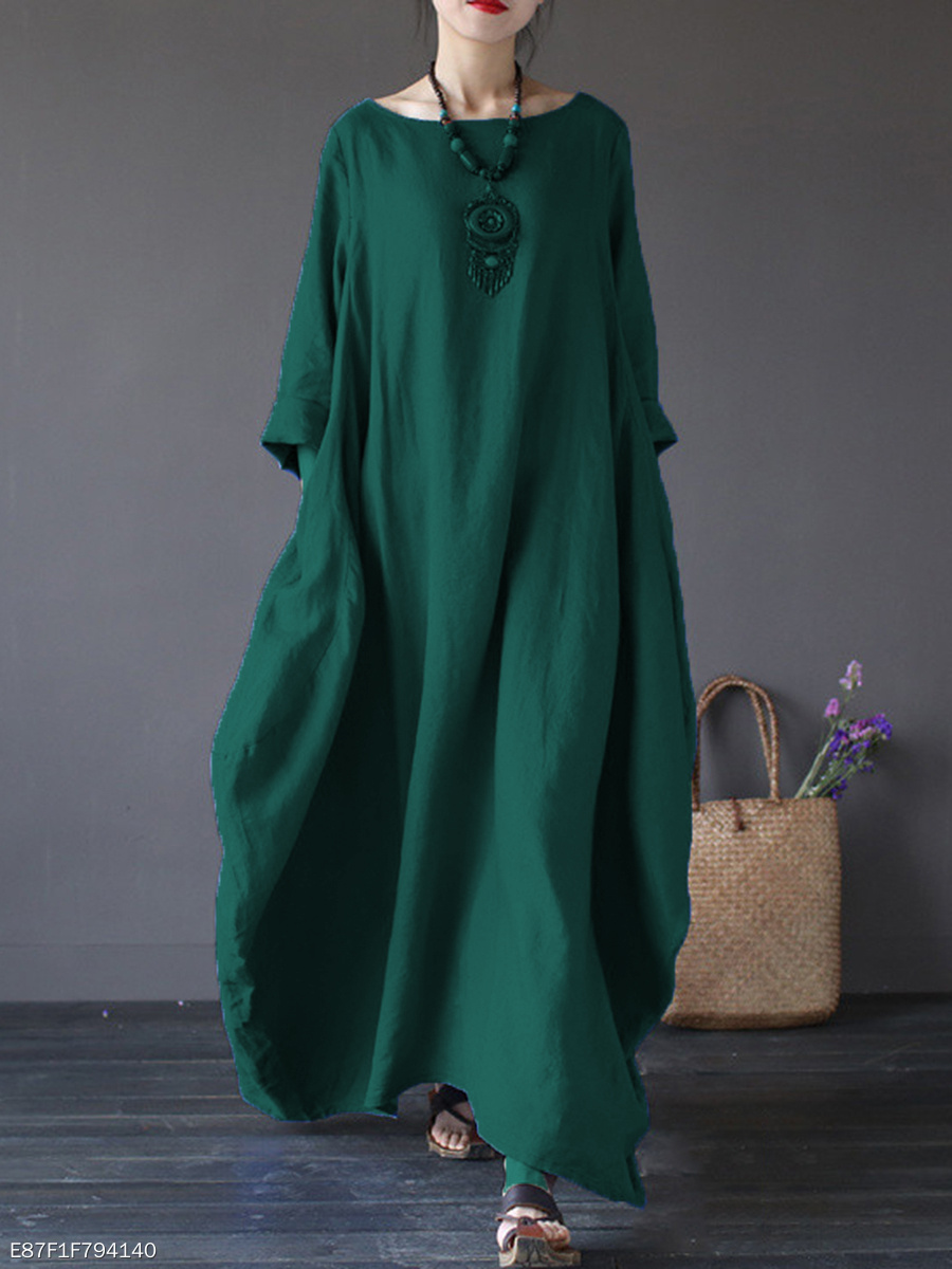 cb1ebac8841 Oversized Round Neck No Pocket Plain Maxi Dress - fashionMia.com