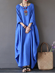 Oversized Round Neck No Pocket Plain Maxi Dress