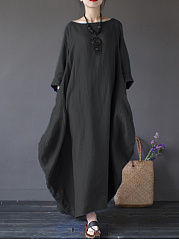 Oversized Round Neck Pocket Plain Maxi Dress