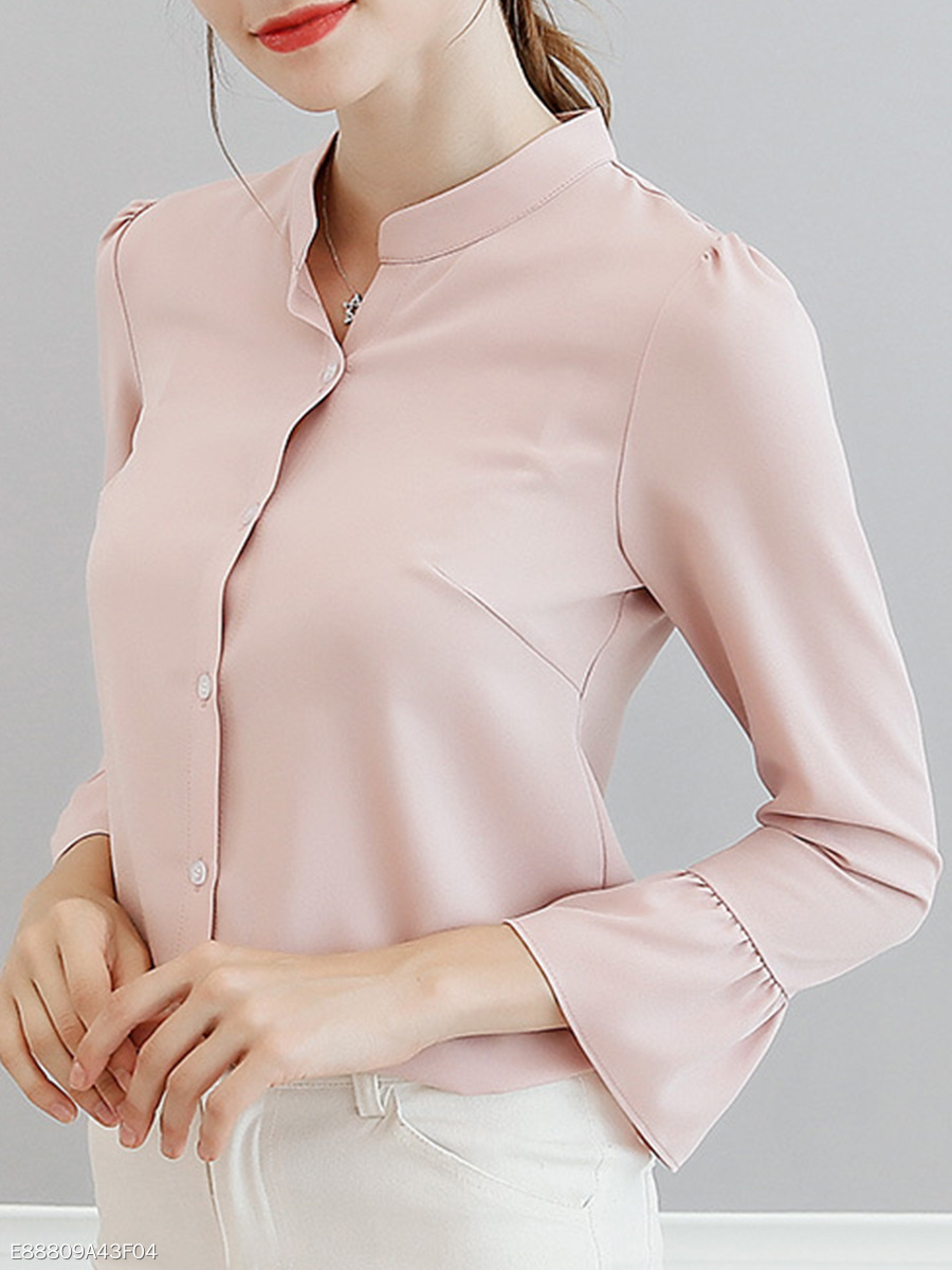 Band Collar  Patchwork  Plain  Petal Sleeve Blouses