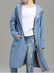 Hooded  Single Breasted  Plain Trench Coat