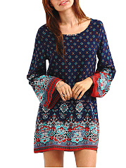 Round Neck Tribal Printed Mini Shift Dress