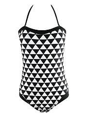 Black-White-Geometric-Halter-One-Piece