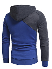 Color Block Long Sleeve Pocket Men Hoodie