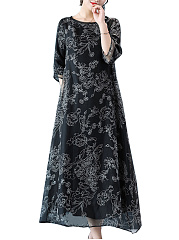 Round Neck  Printed No Pockets Maxi Dress