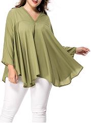 Oversized-V-Neck-Asymmetric-Hem-Plain-Plus-Size-Blouse