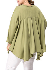 Oversized V-Neck Asymmetric Hem Plain Plus Size Blouse