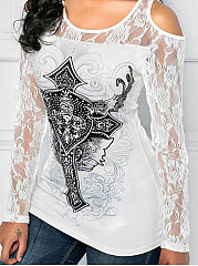 Autumn Spring  Polyester  Women  Decorative Lace Patchwork  Floral Long Sleeve T-Shirts