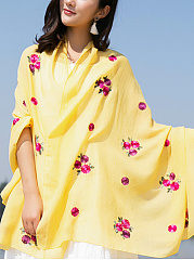 Lady Fashion Floral Printed Linen Scarves