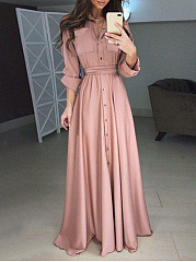 Turn Down Collar  Plain Maxi Dress