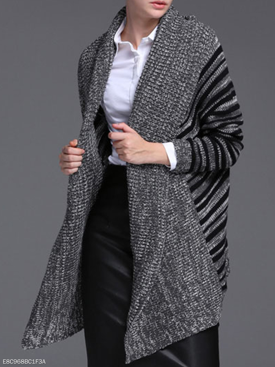 Poncho  Stripes Knit Cardigans