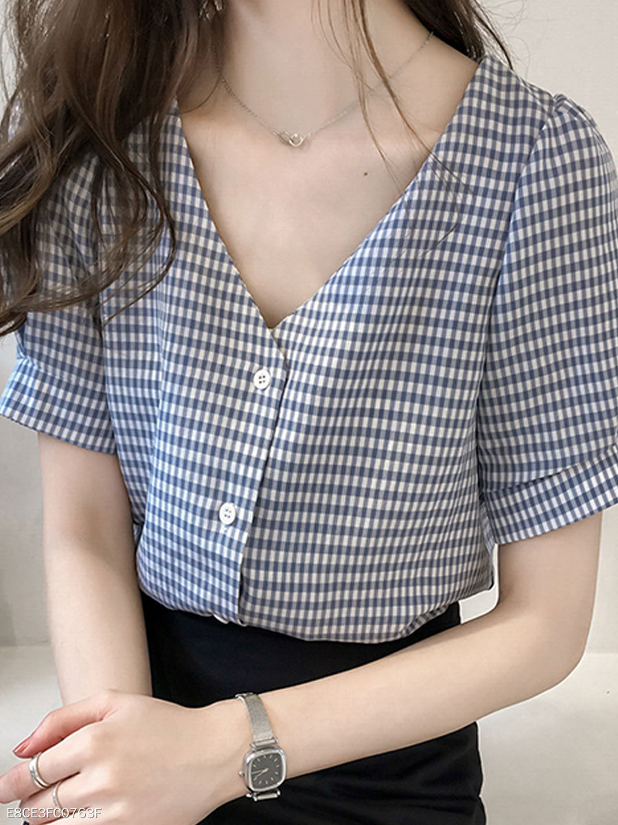 Summer  Cotton  Women  V-Neck  Single Breasted  Plaid  Puff Sleeve  Short Sleeve Blouses
