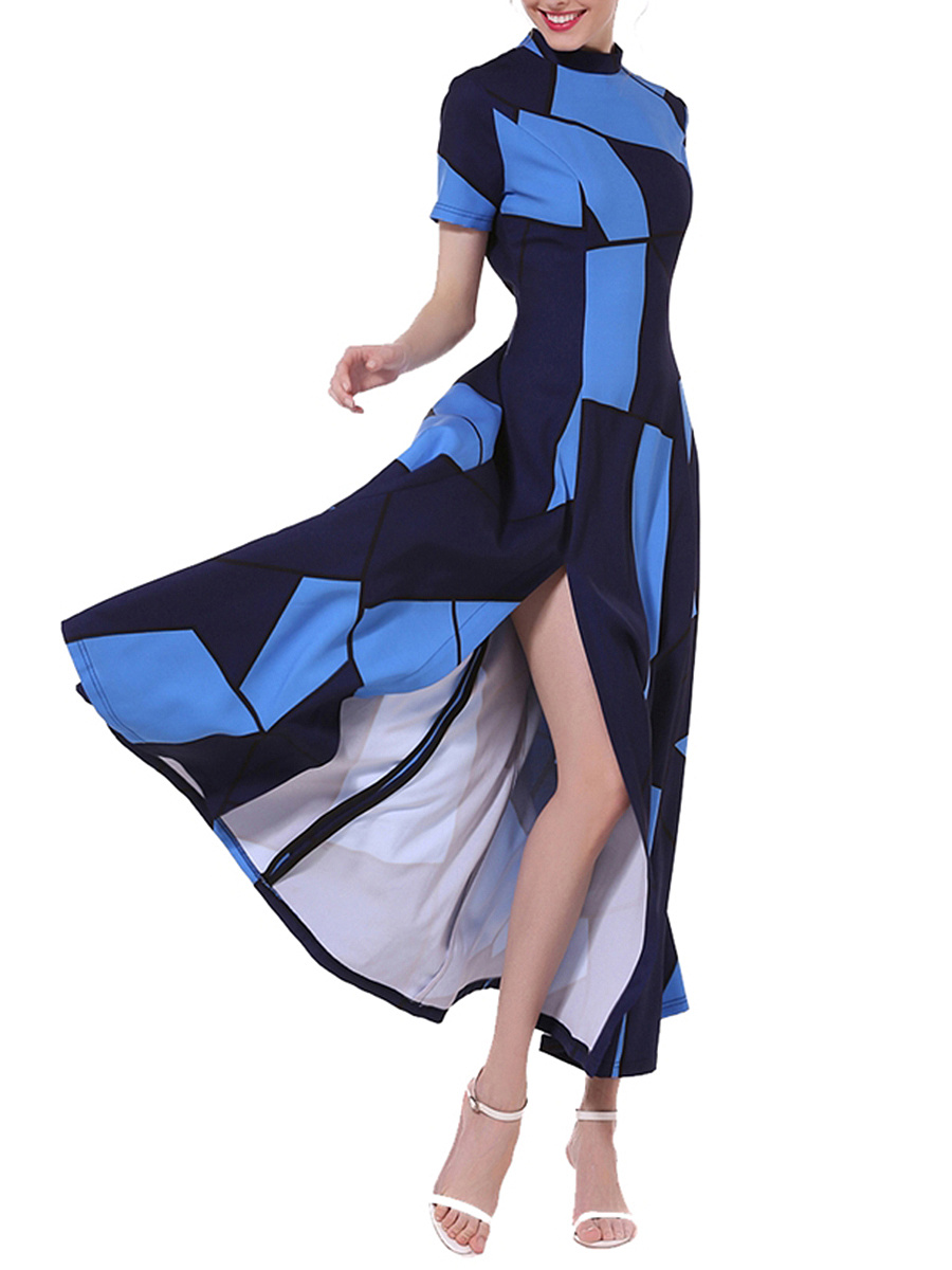 Band Collar Color Block Geometric High Slit Maxi Dress
