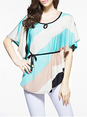 Summer  Cotton  Women  Round Neck  Drawstring  Color Block  Batwing Sleeve  Short Sleeve Blouses