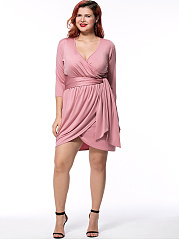 Deep V-Neck Solid Tulip Plus Size Bodycon Dress